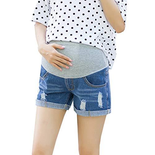 Janjunsi Kurze Jeans Umstandsshorts/Umstandshose mit Bauchband für Sommer