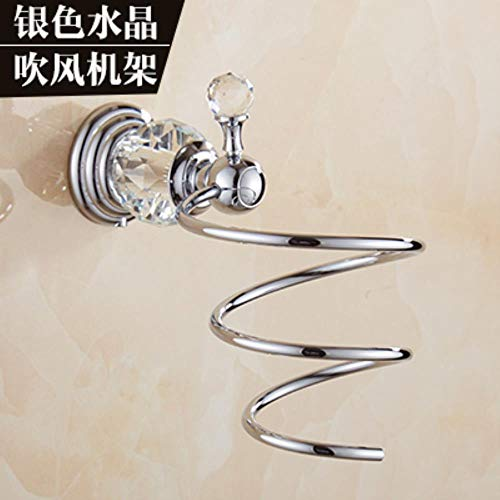 PONNMQ Crystal Badezimmer Hardware Set Handtuchhalter Wandhalterung Zahnbürstenhalter Metall Seifenspender Keramik Badzubehör In Chrom, Fönhalter, Brasilien