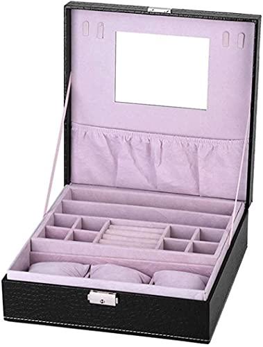 Caja de almacenamiento de joyas, caja de joyería grande, caja de joyería de cuero, caja de joyería de reloj, caja de almacenamiento de moda