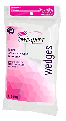 Swisspers Premium Pro Cosmetic Wedges, Latex-Free Makeup Wedge, Jumbo Size, 16 Count Bag