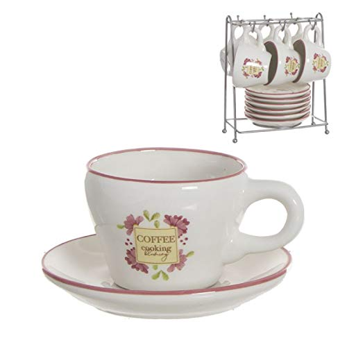 Home Gadgets Juego Café 6 Tazas 100 ml con Plato Floral Market