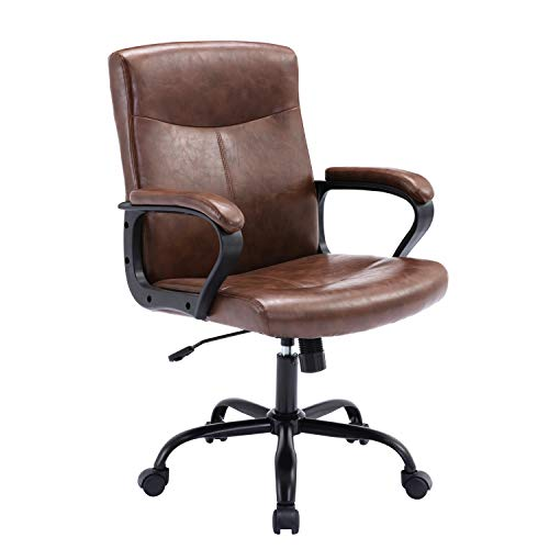 Office Chair Ergonomic Office Chair Adjustable Mid Back Computer Chair, Office Desk Chair PU Leather Executive Conference Swivel Task Chair with Padded Armrests, Cognac Brown