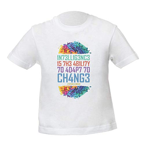 Intelligence Is The Ability To Adapt To Change Stephen Hawking Niños Unisexo Niño Niña Camiseta Blanco Kids Unisex Boys Girls White T-Shirt Tshirt T Shirt