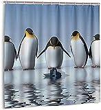 Duschvorhang Pinguin Elefant Netter Lustiger Cartoon Wasserdichter Stoff Badevorhang für Badezimmer72 x 72 Zoll