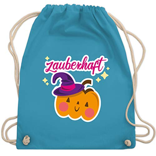 Shirtracer Halloween Kind - Zauberhaft - Kürbis - Unisize - Hellblau - Fun - WM110 - Turnbeutel und Stoffbeutel aus Baumwolle