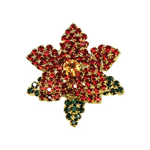 Eternal Collection Poinsettia Red and Emerald Green Crystal Costume Brooch 3.2 Multi