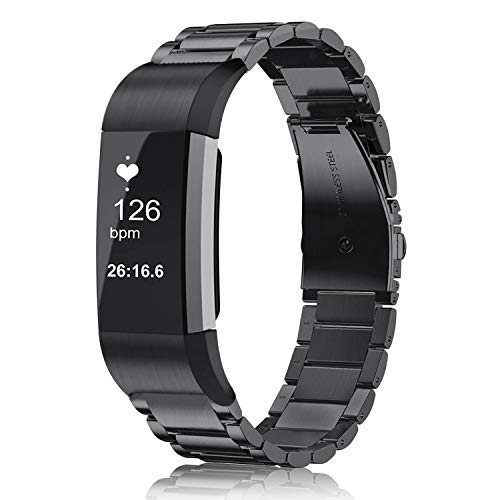 Fintie Armband kompatibel mit Fitbit Charge 2 - Edelstahl Metall Uhrenarmband Ersatzband mit Doppelt Faltschließe, Schwarz