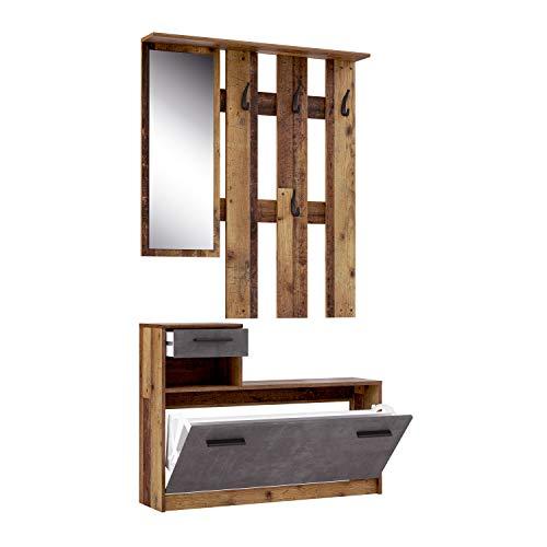 FORTE Kompaktgarderobe inklusive Spiegel, Old Wood Vintage Dekor, 97.5 x 25 x 180 cm