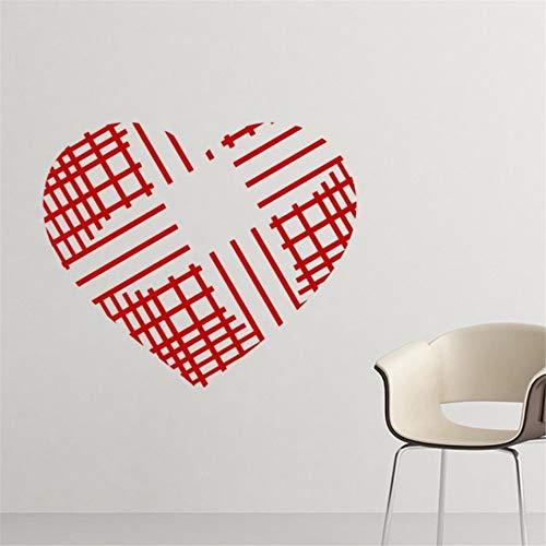 Xbwy Jour De La Saint-Valentin En Forme De Croix-Croix-Rouge Lignes Illustration Motif Amovible...