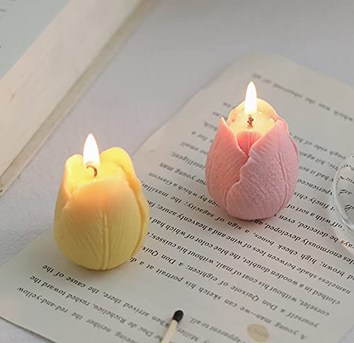 Tulip Flower Shaped Scented Candle,2 Pack Handmade Aroma Soy Wax Decorative Candle for Table Photo Prop Birthday Gift,Prefect for Meditation Stress Relief Mood Boosting Bath Yoga (Pink+Yellow)