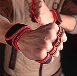 Vintree Guantes de Crossfit para Gimnasio Guantes de Entrenamiento para Hombre y Mujer Guantes de Entrenamiento Abiertos Crossfit Culturismo calistenia Levantamiento de Potencia (Rojo,XL)