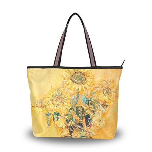 Emoya Damen Schultertasche Handtasche Sonnenblumen Blumenstrauß Gemälde Handtasche Schultertasche Top Griff Tasche für Frauen, Mehrfarbig - multi - Größe: Medium