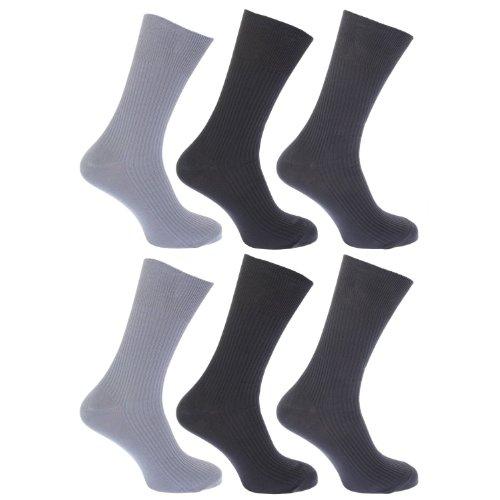 3 Paar Mens 100prozent Baumwolle LOCKER Breit Top Gerippt Socken Nicht Elastisch / UK Größen eu 39,5-44,5 & 11-13 - Dunkle Farben Mode, 40 - 45