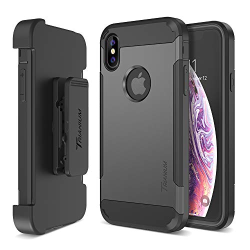 Trianium Holster Case [Duranium Series] Designed for iPhone Xs Max w Rotating Belt Clip + Kickstand [Heavy Duty Protection] Scratch Resistant Shock Absorption for iPhone Xs Max 2018- Gunmetal