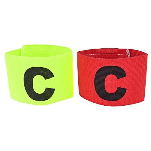 Brazalete de capitan - TOOGOO(R)Elastico Brazalete de capitan de Partido de futbol Distintivo 2pzs Verde Amarillo Rojo