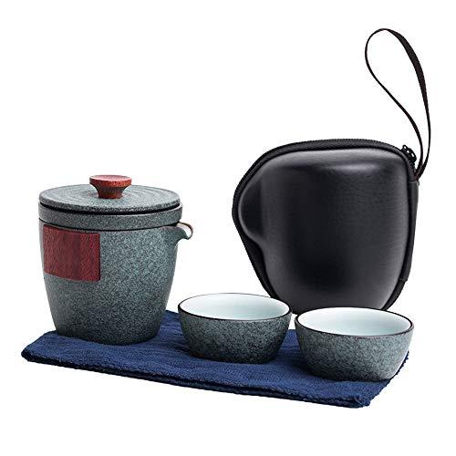 N / C Juegos de té de Viaje Tetera de cerámica Kung Fu Tetera de Arcilla Morada portátil Hecha a Mano Tazas de té Todo en uno Bolsa de Regalo, filtración porosa y artesanía Tradicional