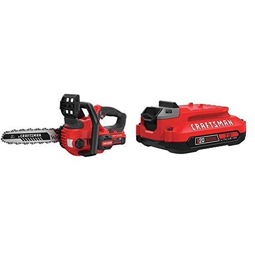 craftsman chainsaws Craftsman V20 Cordless Chainsaw, 12-Inch (CMCCS620M1) and V20 Lithium Ion Battery, 2.0-Amp Hour (CMCB202)
