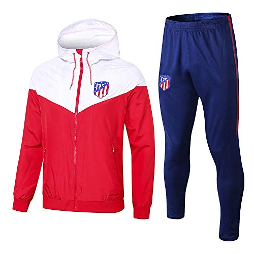 WXHMKGG Herren Rot Fußballbekleidung Verein Uniform Langarm Windbreaker Trainingsanzug Wettkampfanzug M
