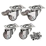 bayite 4 Pack 1' Low Profile Casters Wheels Soft Rubber Swivel Caster with 360 Degree Top Plate 100 lb Total Capacity for Set of 4 (2 with Brakes & 2 Without)