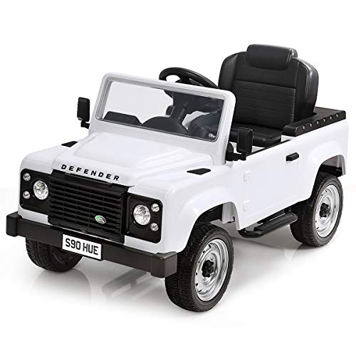 Costzon Pedal Go Kart, Licensed Land Rover Defender 4 Wheel Pedal Powered Kids Ride on Car Toy with EVA Tires, Brake, Children's Riding Car for Boys and Girls Age 3 to 7 Years Old (White)