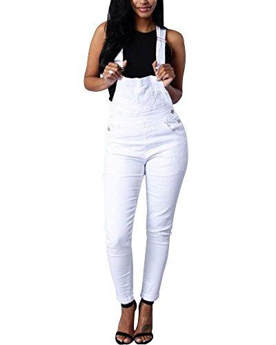 Tomwell Mujer Fiesta Largos Verano Jumpsuits Cuello En U De Tirantes Holgados Harem Pantalones-Regalo Creativo Blanco ES 34