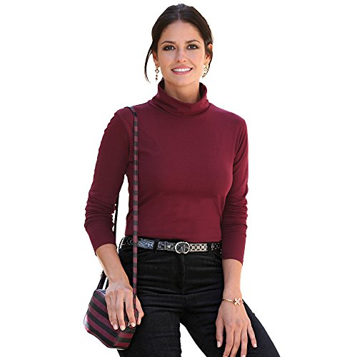 Camiseta Lisa Cuello Vuelto y Manga Larga Mujer - 001476,Granate,4XL