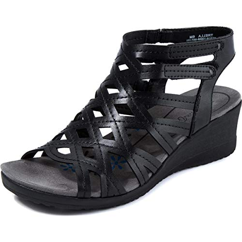 BareTraps Womens Trella Open Toe Casual Ankle Strap Sandals Black