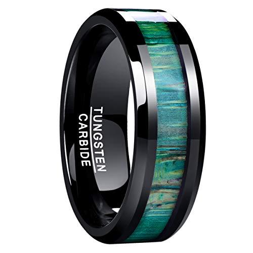 NUNCAD Herren Damen Unisex Ring aus Wolfram Schwarz 8mm mit Holz Grün für Hochzeit Verlobung Valentinstag Größe 62 (22)