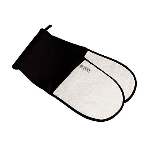 Le Creuset Double Gant avec Boucle, Taille Unique, Noir, Coton