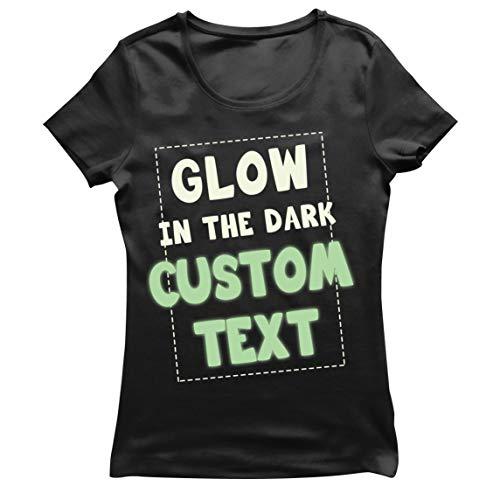 lepni.me Camiseta Mujer Brilla en la Oscuridad Texto Personalizado Lema Ilumina la Noche Prendas Personalizadas