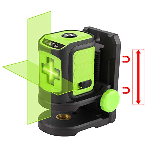 INKERMA Laser Level Tool, Green Cross Line Laser Level Multipurpose Laser Lever for Picture Hanging Construction Wall Writing Tile Installation with horizontal and vertical line