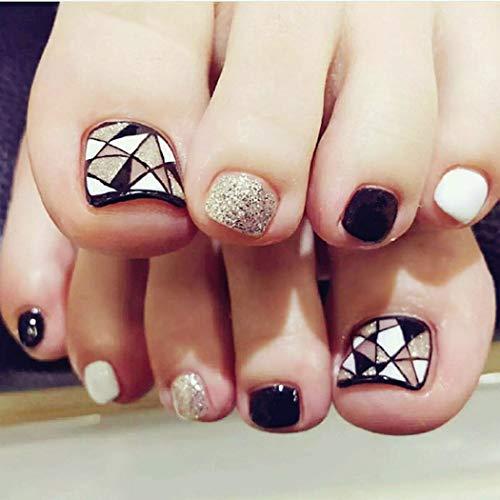 Yienate Kunstnägel für Zehen, schick, exquisit, Brautschmuck, schwarz und weiß, silber, geometrisches Dreieck, künstliche Nägel für Zehen, volle Abdeckung, Nagelspitzen, Fußnägel, 24 Stück
