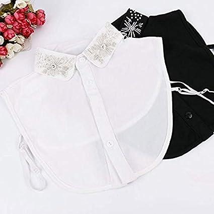 LANGUGU Womens Stylish Detachable Half Shirt Chiffon Blouse False Collar Faux Pearls Fake Collar Dickey Collar