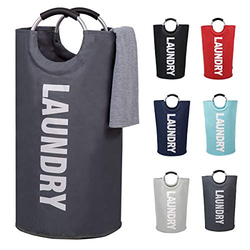 82L Large Laundry Basket Collapsible Fabric Laundry Hamper Tall Foldable Laundry Bag Handles Waterproof Portable Washing Bin Folding Clothes Bag Travel Shopping Bathroom College (Dark Grey, L)