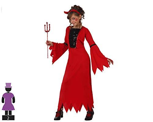 Atosa-10576 Disfraz Demonio para Niña Infantil, color rojo, 10 A 12 Años (10576)