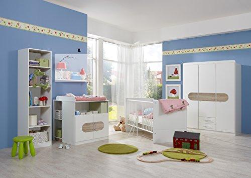 Wimex Babyzimmer Set Lilly, Bestehend aus Kleiderschrank, Babybett, Wickelkommode, Unterschrank und Regal, Liegefläche 70x140 cm, Weiß