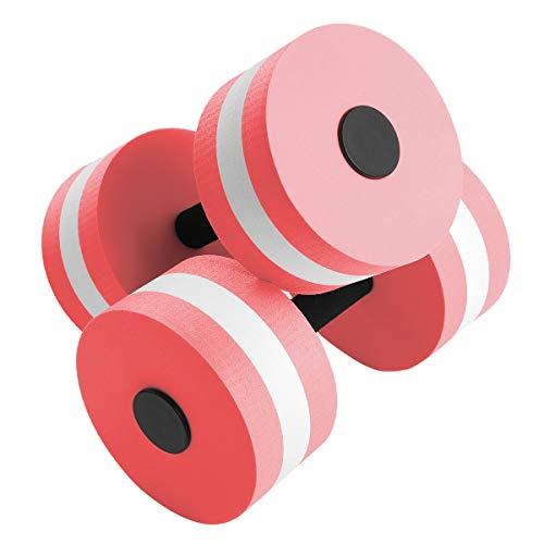 ranrann 2er Set Aquatic Übung Hanteln Aqua Fitness Wassersport Übungshanteln Barbell aus Eva Schaum Sport Fitness Geräte für Training Übungen Orange Pink One Size