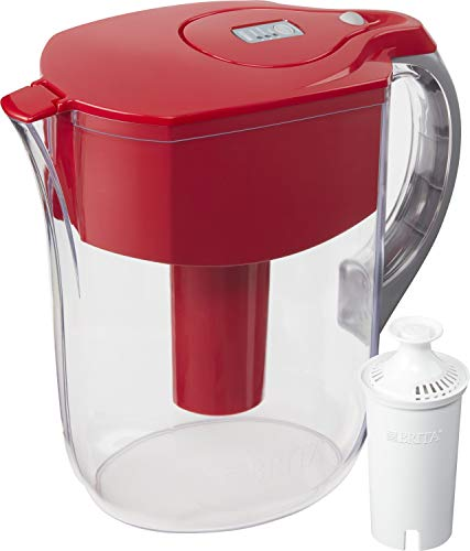 Brita Standard Grand Water Filter Pitcher, Large 10 Cup, Red
