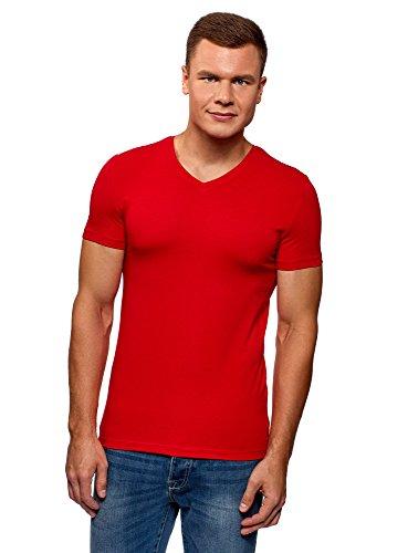 oodji Ultra Herren T-Shirt Basic mit V-Ausschnitt, Rot, XL