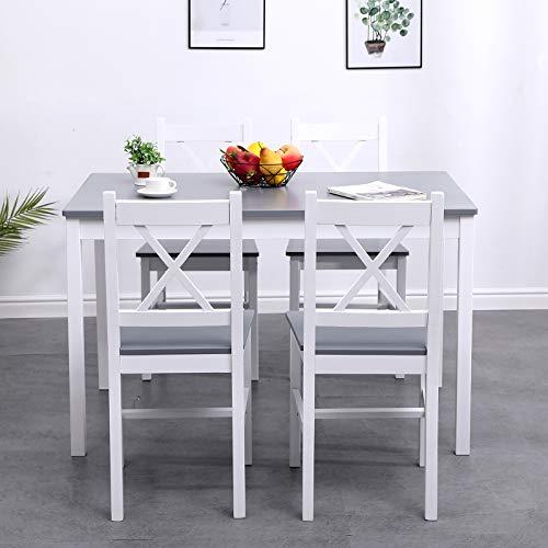DlandHome Set 5 Pezzi con 1 Tavolo e 4 Sedie per in legno di pino, tavolo cucina tavolo allungabile