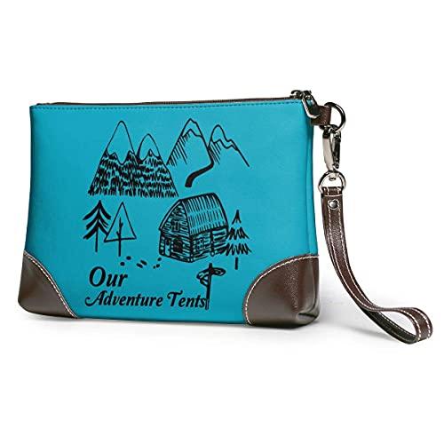 Hdadwy Unsere Forest Adventure Zelt Frauen tragbare weiche echte Leder Clutch Wristlet kleine klassische Tasche große Brieftasche