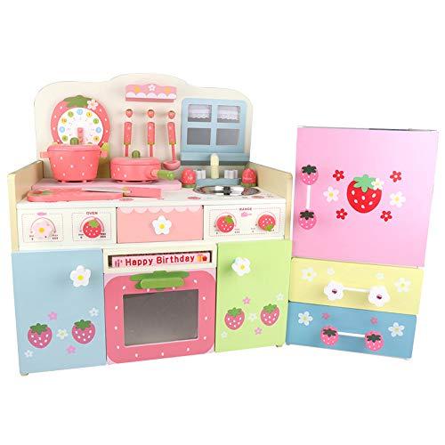 Juguetes de simulación para jugar en la casa, juguetes de cocina de madera, juegos educativos de educación temprana para bebés, juegos de juguetes para estufas y refrigeradores, adecuados para niños