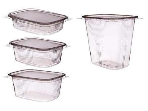 250 Feinkost Verpackungsbecher Feinkostbecher Salatbecher eckig Rechteckbecher mit Deckel klar/transparent PP temperaturbeständig versch. Größen - Inklusive Verpackungslizenz in D (125g 108x82x28mm)