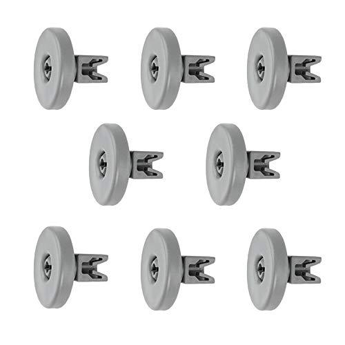 8 Korbrollen Geschirrkorb Rolle Rad Kompatibel mit AEG Privileg Ikea Juno Electrolux Zanussi Spülmaschinen 50223753000 50286965004 5028696500 502869650 15257700-40MM