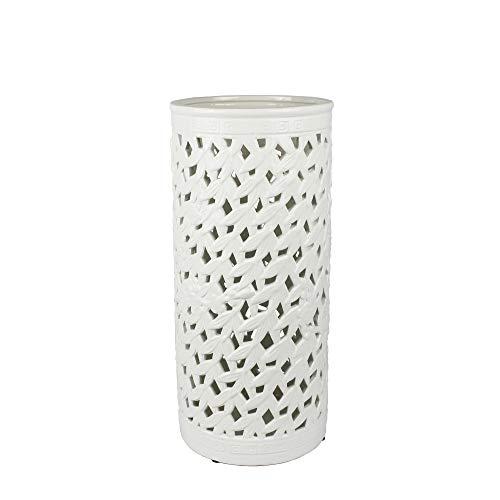 Sagebrook Home Pierced Ceramic Umbrella Stand, White, 9x9x20