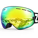 ZIONOR X Ski Snowboard Snow Goggles OTG Design for Men Women with Spherical Detachable Lens UV Protection Anti-fog (VLT 7% Black Frame Revo Gold Lens )
