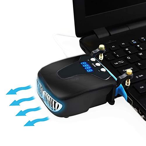 DZSF Starke Laptop-Kühlung, Vakuum-Lüfter Externer USB-Silent-Ice-Notebook-Kühler Digitalanzeige Einstellbar Smart Model Cooler VS Pad,Schwarz