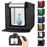 Foto Estudio Caja, Caja de luz para fotografía, Caja de Luz Portátil 40 x 40 x 40 cm para Hacer Fotos con 6 Fondos(Rojo/Verde/Azul/ Naranja/Blanco/Negro )+ 2 tiras de LED ,Bolsa de Transporte