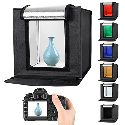 Fotolåda, fotostudio 40 x 40 cm ljustält fototält vikbar 32 LED ljuskub ljuslåda med 6 färger bakgrund för fotografering