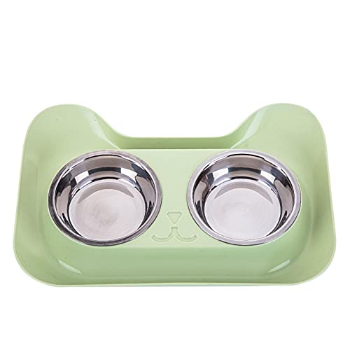 LLK Double Dog Cat Bowls Cute Cat Shaped Food Water Feeder for Small Dogs Cats Feeding Stainless Steel Pet Bowl Supplies